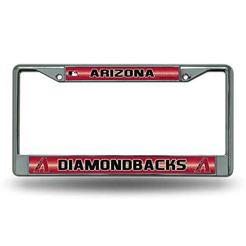 Rico MLB Arizona Diamondbacks Bling License Plate Frame, Chrome, 12 x 6-Inch