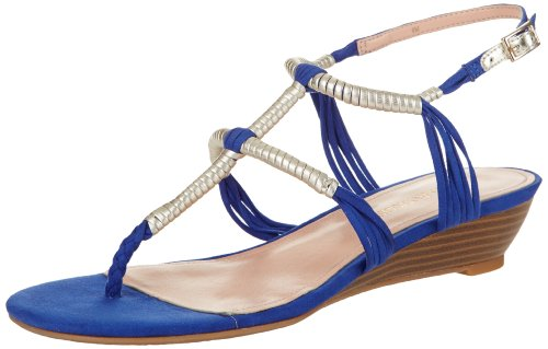Sandalo Con Zeppa Enzo Angiolini Womens Khanna2 Tessuto Blu Scuro / Oro Chiaro