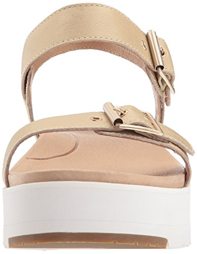 Ugg Womens Angie Metallic Leather Sandal Gold (Gold)