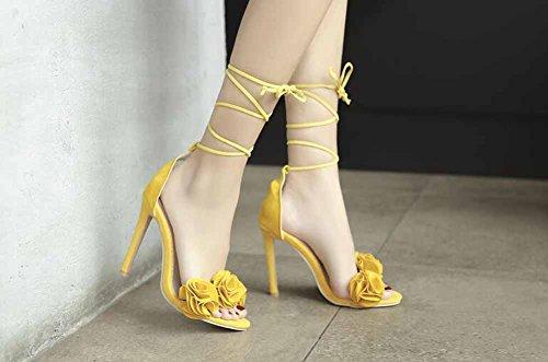 tacco Dimensione cinturino Moda 10 donna taglia pelle 52 40 52 Fiori alto scamosciata pelle Sandali da Color in cm in Yellow con con 1pqwC
