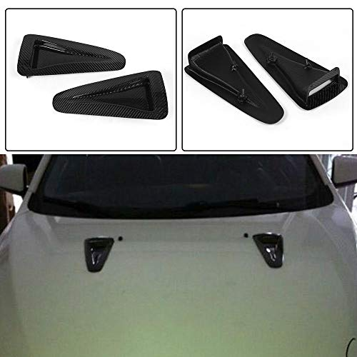 JC SPORTLINE fits Nissan R35 GTR 2012 2013 Carbon Fiber Air Flow Intake Turbo Bonnet Fender Hood Scoop Vent Sticker Trim Decorative
