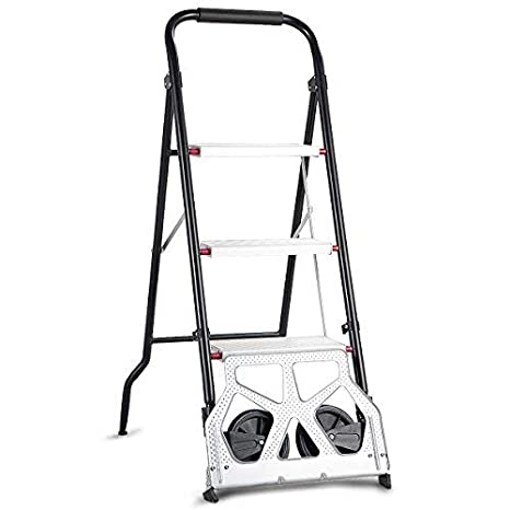 Amazon.com: Goplus - Escalera plegable 2 en 1 de 3 escalones ...