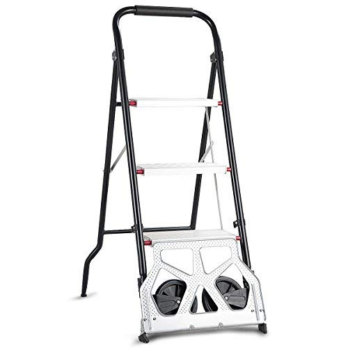 Goplus 3 Step Ladder Hand Truck 2-in-1 Aluminum Folding Stool Ladder 330Lbs Heavy Duty Portable Cart Dolly 176Lbs with Two -