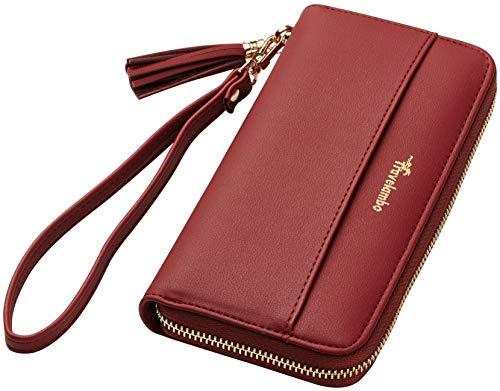 (Travelambo Womens Wallet Tassel Bifold Ladies Cluth Wristlet Wrist strap Long Purse (Access Red Deep))