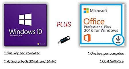 Microsoft Windows 10 Pro & Office 2016 Pro Plus USB Flash Drive with Activation Key & Instructions