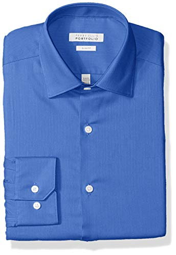 (Perry Ellis Men's Slim Fit Wrinkle Free Dress Shirt, French Blue Herringbone, 15.5 32/33)