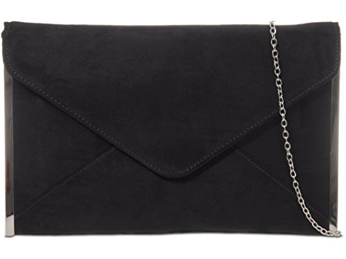 EVENING STYLE BRIDAL ENVELOP fi9® BAG CLUTCH WEDDING Black SUEDE PURSE PLAIN PARTY HAND 6wtqHRBxY