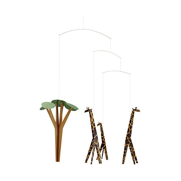 Giraffes On The Savannah Hanging Nursery Mobile – 24 Inches – Handmade in Denmark by Flensted