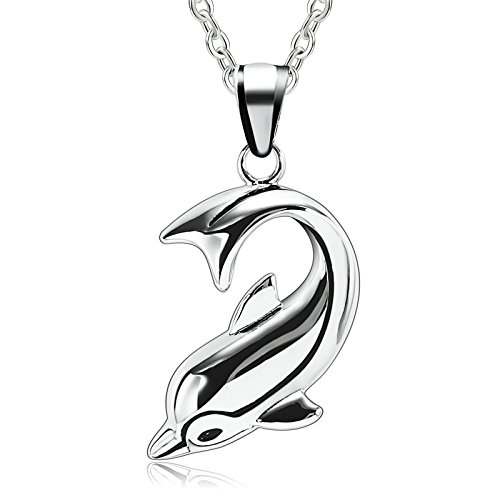 Adisaer His and Hers Stainless Steel Pendant Necklace 1PCS Dolphin of Love Silver Wedding Necklace by Adisaer