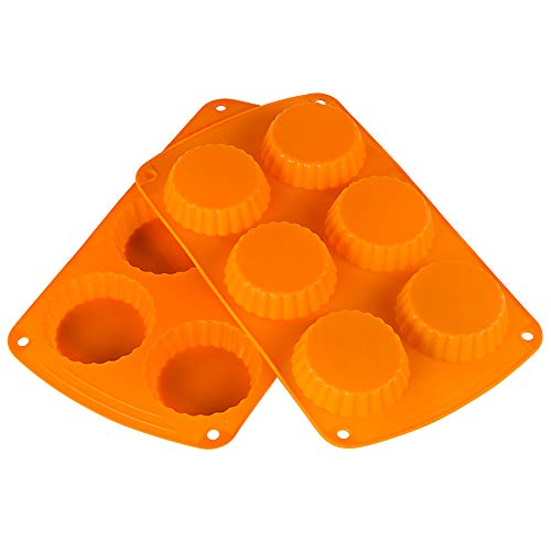 Webake Mini Tart Pan Silicone Peanut Butter Cup Quiche Mold, Pie Pan 6-Cavity Tartlet Pan Pack of 2
