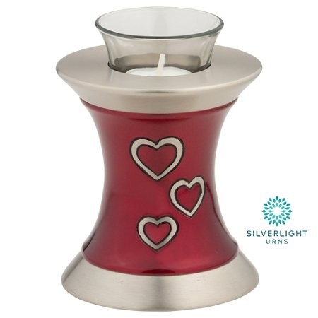 Loving Hearts Tealight Urn by Silverlight Urns, Red Brass Candle Mini Urn for Ashes, Memorial Votive Included, 5.5 Inches Tall (Heart Tealight)