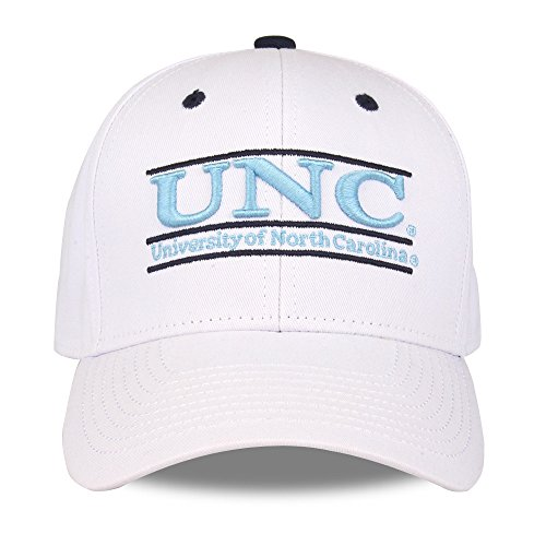 The Game NCAA North Carolina Tar Heels Unisex NCAA bar Design Hat, White, Adjustable