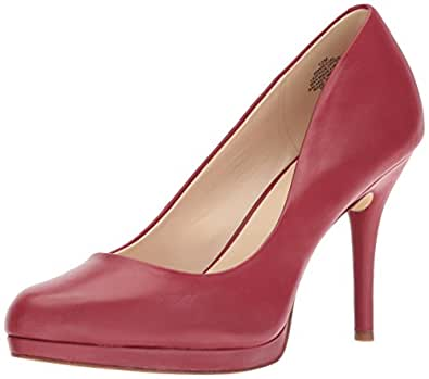 Nine West Women's Kristal Leather Pump, Red, 065 M US