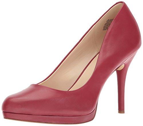 Nine West Women's Kristal Leather Pump, Red, 12 M US