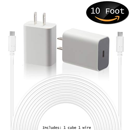 Google USB-C Charging Rapidly Charger for 2nd & 3rd Gen Pixel devices (18W 3A Charger + 10 Foot USB-C, C-C Cable)
