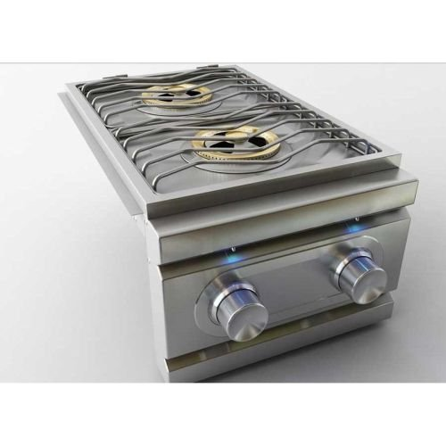 Stainless Steel Double Side Burner with LED Lights - NG by RCS Gas Grills