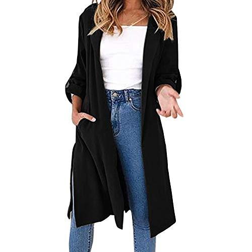 JIANGfu Fashion Women Autumn Winter Solid Color Turn-Down Collar Cardigan Suit Ladies Casual Long Sleeve Coat Windbreaker Jacket Tops Office Outerwear Black