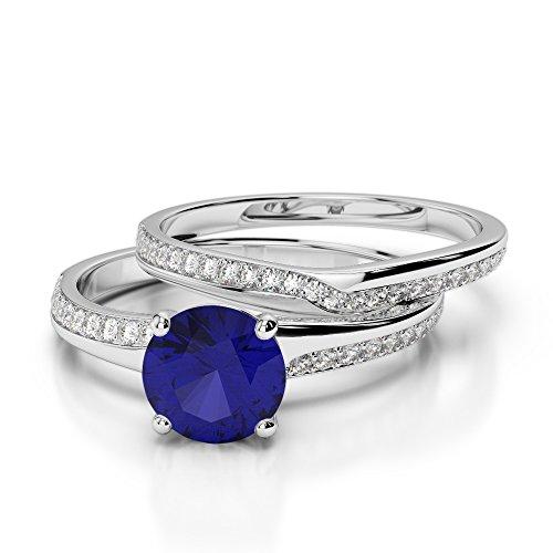 G-H/VS 1CT Coupe ronde sertie de diamants Saphir et diamants blancs et bague de fiançailles en platine 950Agdr-2015
