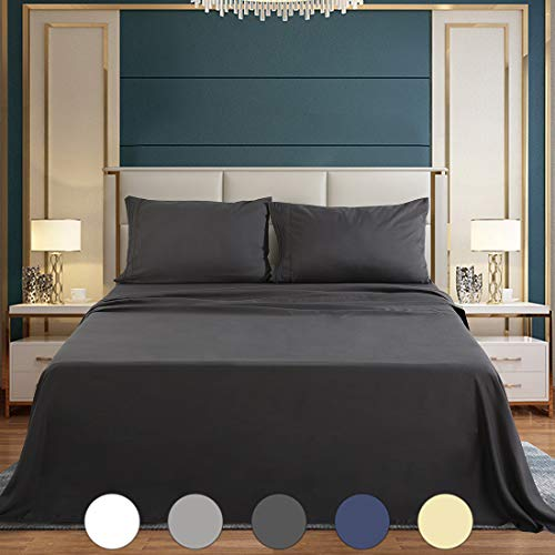 - Abakan Bed Sheets Set 4 Piece Microfiber 1800 Series Hotel Luxury Bedding Sheet Breathable, Wrinkle Fade Resistant Soft Sateen Weave Deep Pockets Bedding Set (Full, dark Grey)