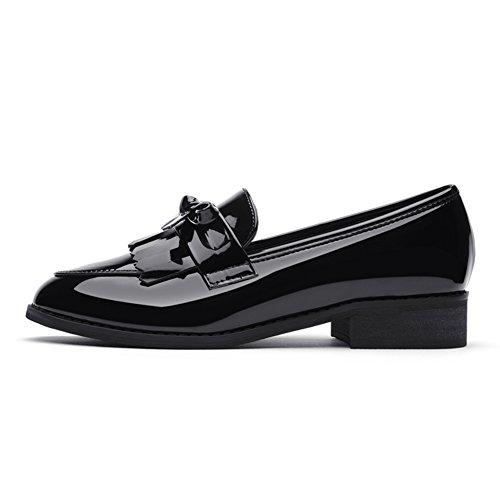 PUMPS Ladies Small Shoes,Studenten mit Schwarzem Flachen Schuhe-A Fußlänge=23.8CM(9.4Inch)