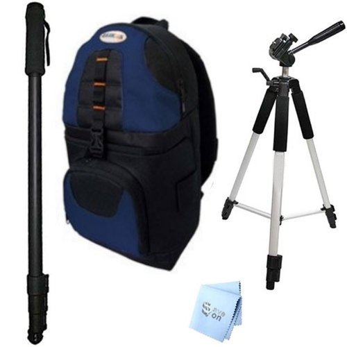 SAVEoN Pro 59'' Tripod, 72'' Monopod, and Blue/Silver Sling Backpack + SAVEoN MicroFiber Cleaning Cloth for Pentax K-30 Digital Camera by SAVEoN