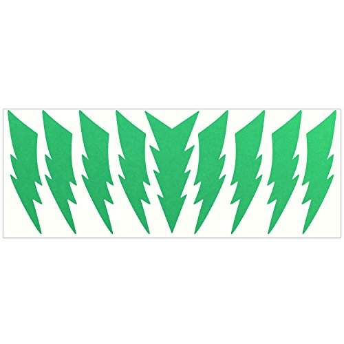 LiteMark Reflective Green 4 Inch Lightning Sticker Decals for Helmets, Bicycles, Strollers, Wheelchairs and More - Pack of 9