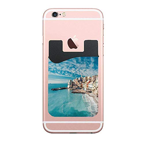 Panorama of Old Italian Fish Village Beach Old Province Coastal Charm Image,Turquoise Fashion 2 PCS Phone Card Holder, Card Holder Compatible with Most Smartphones (Fish Italian Charm)