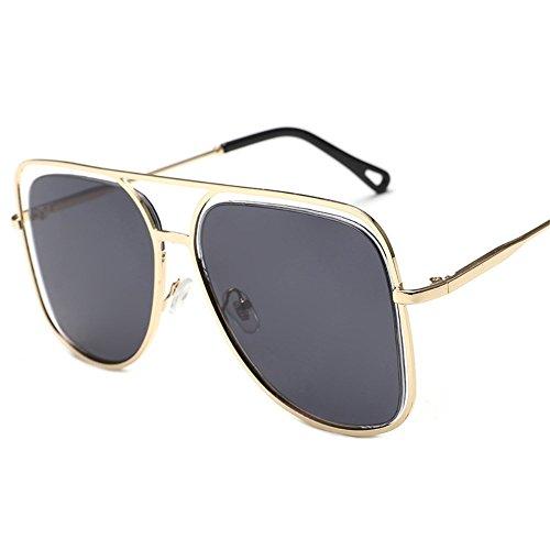 Negro sol y Gafas coloridas sol de gran Dorado de metálicas Shop individuales Ceniza Marco sol de coloridas sol oceánico Gafas gafas de gafas cuadrado 6 color ahuecadas v4nq75w
