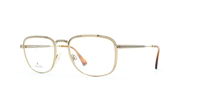 6814cf60ed Gucci 1225 26P Gold Rectangular Certified Vintage Eyeglasses Frame For Mens  and Womens  Amazon.co.uk  Clothing