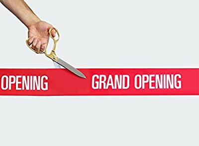 """10 1/2"""" Ceremonial Ribbon Cutting Scissors & 5 Yards of 4"""" Red Grand Opening Ribbon"""