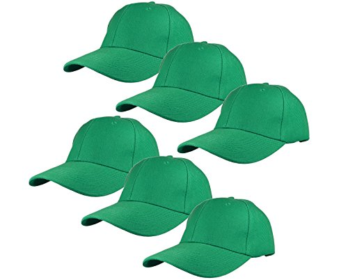 Gelante Plain Blank Baseball Caps Adjustable Back Strap Wholesale Lot 6 Pack - 001-Kelly Green-6Pcs