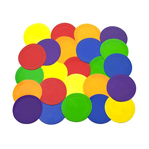 Ace Creations 9 Inch Poly Vinyl Spot Markers - for Training and Drills - Set of 24 - Four of Each Red, Green, Orange, Purple, Blue, and Yellow