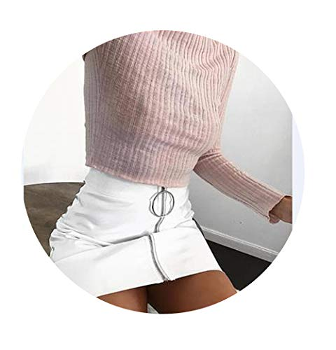 NDJqer Sexy Women High Waist Zip Faux Leather Short Pencil Bodycon Mini Skirt Solid White Skirt,White,XL (Zara Faux Leather Pencil Skirt)
