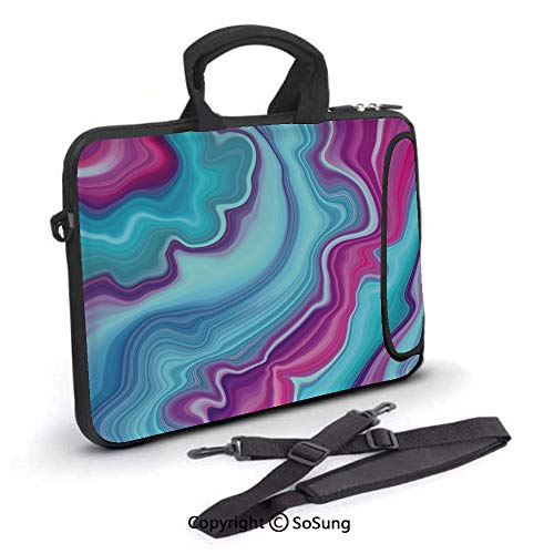 17 inch Laptop Case,Abstract Color Formation Wavy Aqua Pink Lines Agate Slab Mineral Layers Geographic Neoprene Laptop Shoulder Bag Sleeve Case with Handle and Carrying & External Side Pocket,for Netb ()