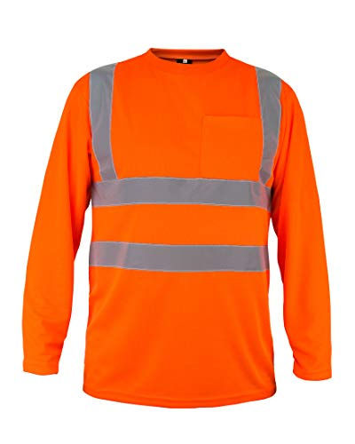 Kolossus 100% Polyester ANSI Class 2 Compliant High Visibility Long Sleeve Safety Shirt (Orange, - Shirt Class Mens