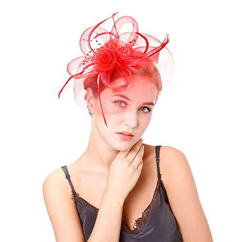 Fascinators Hat Hair Clip Hair Accessory Mesh Ribbons Feather Flowers Elegant Bride Headwear Cocktail Tea Party Wedding Derby Headpiece for Girls and Women,Red ()