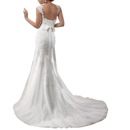 Spitze Weiß GEORGE Designer Meerjungfrau Brautkleid Kapelle BRIDE Schleppe qaww16P