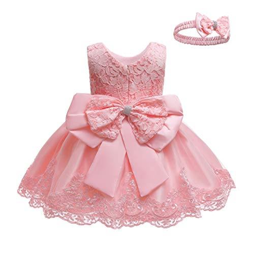 LZH Baby Girls Formal Dress Bowknot Baptism Embroidery Tutu Dress with Headwear(8348-Light Pink,6M/3-6 Months)