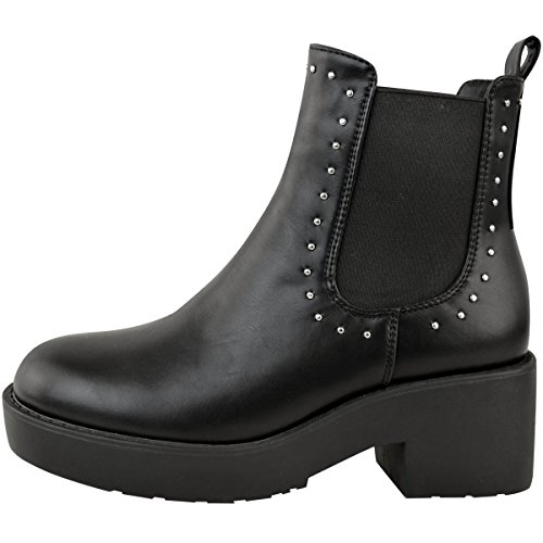 Fashion Thirsty Womens Stud Low Block Chunky Heel Pull On Chelsea Ankle Boots Shoes Black Faux Leather zNN9j