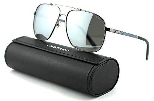 Chopard SCH B77 Unisex Aviator Metal Sunglasses (Shiny Gunmetal/Smoke Frame/Mirror Silver Polarized Lenses 568X) ()