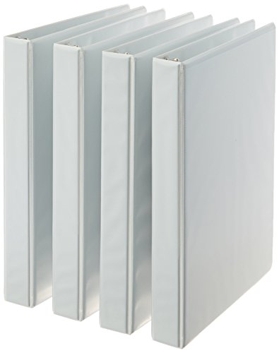 AmazonBasics 3-Ring Binder, 1 Inch - White, 4-Pack Clear Label Sleeve Round Ring
