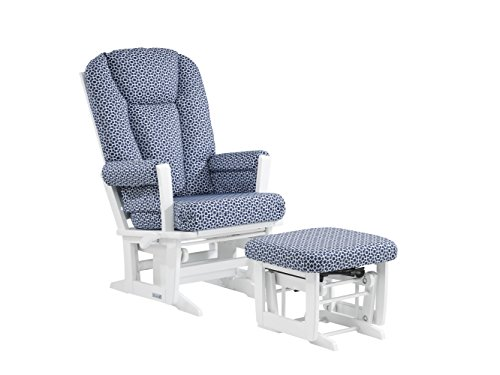 [Dutailier Modern Glider-Multi-Position Recline and Nursing Ottoman Combo, White/Denim Cubes] (Reclining Glider And Ottoman)