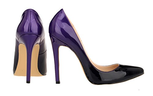 Women's Toe CAMSSOO Pumps Color Double Purple Shoes Stiletto Pointed Dress CpnqwSdI