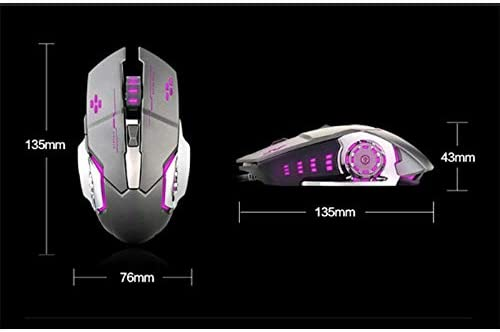Vnlig Mouse Mechanical Wired Mute Office Desktop Home Rechargeable Wireless Gaming Mouse 2.4G LED Color Optical Ergonomic Handle 4 Adjustable DPI,