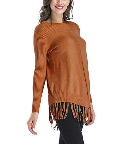 Chandails Casual Tassel Femmes Tricot Col Tops Pull Loose Kaki Rond Longues Manche Tdwz0dFx