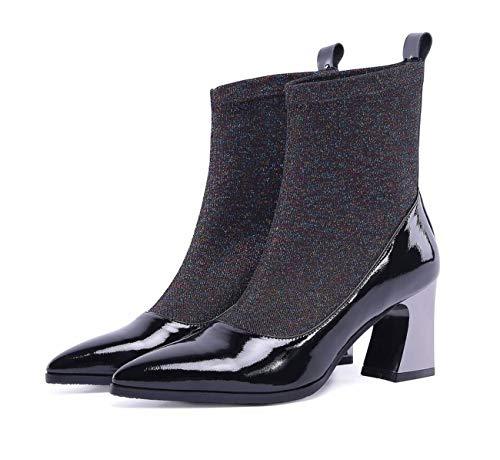 à Bout à élastiques Femmes Chaussures Bottes Bottes Talons Bottes Pointu Hauts Noir SwgTnHtqx
