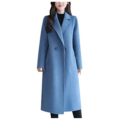 Woolen Trench Coat, NRUTUP Winter Coat Slim Fit, Premium Warm Coat with Buttons, Double Breasted Overcoat, Office Work (Sky Blue, 6)