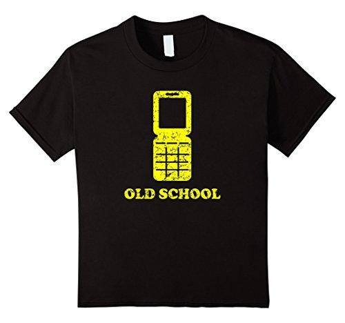 Kids Old School Funny 90s Vintage Flip Phone T Shirt 6 Black