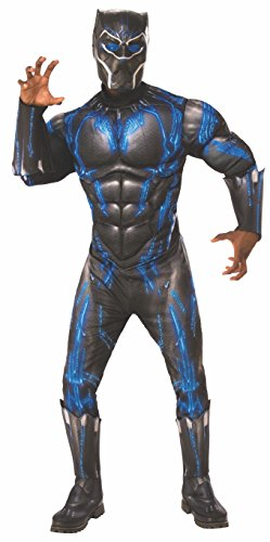Men's Deluxe Black Panther Muscle Chest Battle Suit Costume