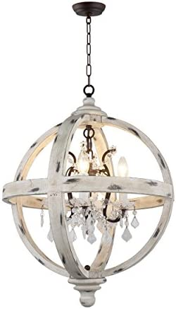 AA Warehousing LZ13-4WH 4 Light Candle Style Globe Clear Glass Crystals Wood Finish Chandelier, Withered White WoodFinish